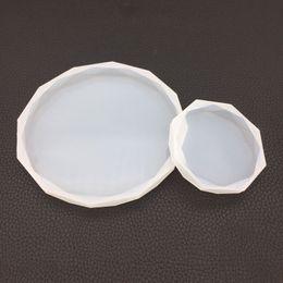 Resina epoxi circulo online-Rombo molde redondo de silicona moldes de resina epoxi Gran Círculo de silicona Coaster Resina Teja de moldes y herramientas de polímero Junta arcilla del arte de DIY