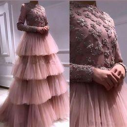 2019 robe de mariée arabe Blush Rose Manches Longues Robes De Soirée Musulmanes 2019 Longue Aiguille Femmes Arabe Robe De Fete Formelle Dubaï Robes De Bal De Mariée robe de mariée arabe pas cher