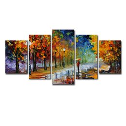 abstract rain painting Promo Codes - 5Pcs Man Carries An Umbrella In Autumn Raining Day Colorful Wall Art HD Print Canvas Painting Fashion Hanging Pictures