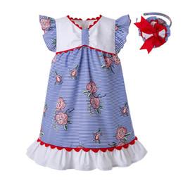Projetos de manga rosa on-line-Pettigirl Verão Azul Rosa Stripe Impresso Puff Sleeve Wove Design Do Bebê Meninas Vestidos Casuais Crianças Vestido Boutique Roupas G-DMGD203-65