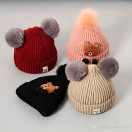 super boy beanie Rebajas Super suave Niños Knit Beanie Sombreros de dibujos animados del oso bebés recién nacidos casquillos estilo de la historieta linda del niño de la muchacha Accesorios otoño Invierno