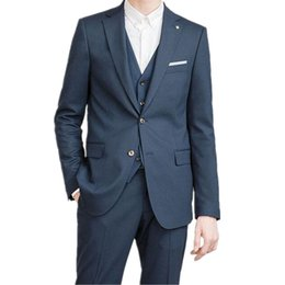 9916650fb4f Business Men Formal suits Custom Made Dark Blue Notched Lapel Men Suits For Wedding  Men Slim Fit Suits (jacket+pants+vest)