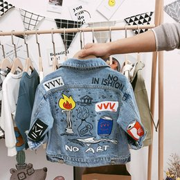 chaqueta de los niños jeans Rebajas 2019 New Designer Kids Boys Denim Jacket Baby Street Jeans Jacket Niños Spring Denim Outwear 1-3 años