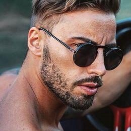 Gafas de sol gafas de sol online-Hombres retro steampunk círculo redondo vintage gafas de sol plegables mujeres hombres estilo punk gafas de sol marco de metal gafas de sol negro masculino uv400