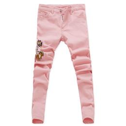 Jeans del fiore del denim online-Jeans elasticizzati skinny da uomo in tessuto floreale New Fashion 2019