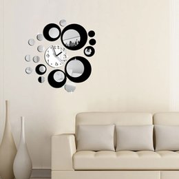 Круглая стенная панно онлайн-2015 новый DIY круги дизайн акриловые зеркальный эффект черный серебристый настенные часы росписи деколь движение движение декор