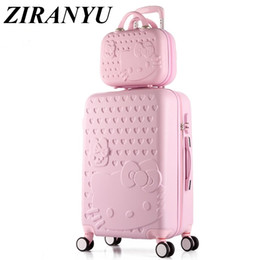 06bc3587fbe1 brand 2PCS SET Lovely 20 24 inches girl students trolley 14inch Cosmetic  bag hello Kitty Travel luggage woman rolling suitcase