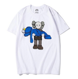 2019 faixa de solteira de ferro novos amantes camisas homem mulheres t-shirt ocasional mangas curtas UNIQLO X KAWS X Vila Sésamo revestimento roupa L T da forma outwear tee partes superiores de qualidade