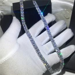 Collares de diamante blanco para mujer online-Collar de tenis de moda de oro blanco lleno de princesa de corte diamante declaración del partido de la boda colgantes para mujer joyería 45 cm