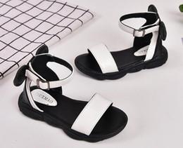 Sandalias negras bebé niñas online-Sandalias para niños Zapatos de diseño para bebés, niñas, playa, blanco y negro, zapatos para niños, zapatos, sandalias, talla 26-36