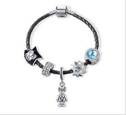 d5eb9ece29a6d8 5 Foto Braccialetto di cuoio genuino del braccialetto dell'argento sterlina  925 di 17-21cm che