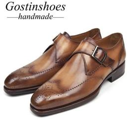 2019 zapatos formales verdes GOSTINSHOES HECHOS A MANO Zapatos Derby formales de Goodyear Welted para hombre Correa de hebilla única Cuero genuino Marrón Azul Verde Toe SCT09 zapatos formales verdes baratos