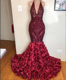 Brillantes con cordones Lentejuelas sirena vestidos de baile apliques Borgoña africana floral trompeta vestido de noche 3D desgaste 2020 de lujo con cuello en V vestidos de partido desde fabricantes