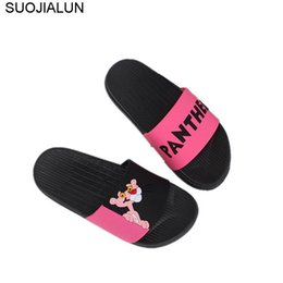 af287ad3a4b22b Women Slippers Lovely Pink Panther Cartoon Floor Bathroom Slides Flip Flops  Zapatos Mujer Home Shoes Vacation Beach Sandal Shoes