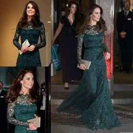 Tapis Rouge Robes Kate Middleton Celebrity Dentelle Verte Manches Longues Sirène Robes de Soirée Formelles Longueur Etage Occasion Spéciale Robes De Bal ? partir de fabricateur