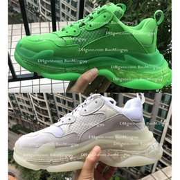 Triple S Sneaker Triple S Casual Papa Schuhe Kristall transparente Sohle Mode Schuhe Herren Damen Fluorescent Green Ceahp Sport Designer Schuhe