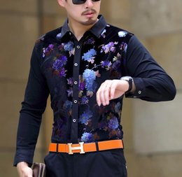 Herren Winterhemd Männliche Mode Samt Formale Hemden Herbst Winter Warme Dicke Blumen Print Fleece Shirts Drop Shipping von Fabrikanten