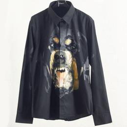 adelgazamiento vestir patrones Rebajas 2019 hombres de moda camisa masculina de alta calidad camisas de manga larga Casual Slim Fit Rottweiler patrón hombre camisas de vestir