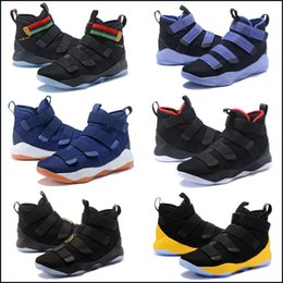 f4568fb3ae34 Lebron Soldiers 11 Limited Edition BHM Cavs Court General Mens Basketball  Shoes Sports Finals Black Gold Purple Sneakers Size 7-12