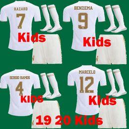 kits de futebol para meninos Desconto Crianças 2019 2020 Real Madrid HAZARD kits de futebol kits JOVIC MILITAO camiseta 19 20 RM meninos criança SERGIO RAMOS Benzema ASENSIO Camisa de Futebol