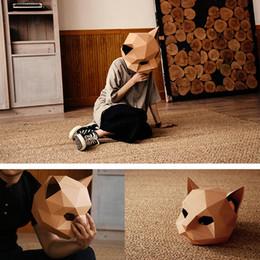 trabalho manual de decoração Desconto Máscara de gato DIY Handwork Criativo Máscara de Papel Matriz de Papel Cosplay 3D Animal Cabeça Decoração Do Partido Foto Prop