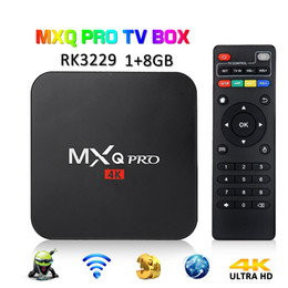 Box TV 4K MXQ PRO da 1 GB, 8 GB, RK3229 Quad Core Android 7.1, IPTV Smart TV OTT, set di ripiani da