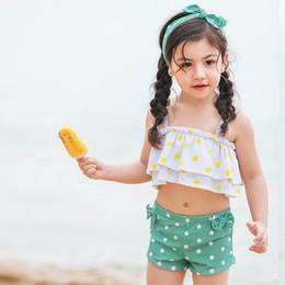c085e59383dce Cute 2019 new kids swimwear dots Girls Swimsuit Girls Bikini Kids Bathing  Suits Child Sets Beachwear Two-piece suit A3134