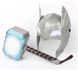 thor cosplay Rabatt [TOP] Kind Cosplay The Avengers 2 Thor LED-Licht leuchtenden Klanghelm Waffe Hammer Beben Modell Spielzeug Kostüm-Partei-Geschenk