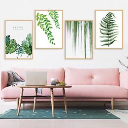 abstrakte gemälde wellen Rabatt Pflanze grüne Blätter Leinwand Gemälde Kunstdruck Poster Bild Wand moderne minimalistische Schlafzimmer Wohnzimmer Dekoration