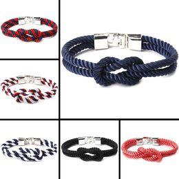 Joyería de nylon online-Moda europea y americana hombres y mujeres joyas pulseras cuerda de nylon hebilla simple tejido a mano de múltiples capas bobina al por mayor