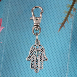 2019 hamsa keychain Vintage Silber Hamsa Hand Schlüsselanhänger Für Schlüssel Autoschlüssel Ring Souvenir Handtasche Zubehör Dekoration Keychain Schmuck Hot günstig hamsa keychain