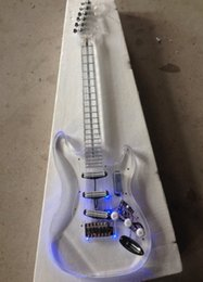 e-gitarre körper stile Rabatt Freies verschiffen Neue stil hochwertige Led licht e-gitarre mit acryl körper koreanische qualität pickups guitarra guitars