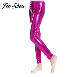 ae259e06891 Fashion Boys Girls Shiny Metallic Skinny Pants Elastic Pencil Pant Leggings  for Kids Performances Dance