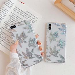 Capa de iphone rosa de ouro on-line-Rose gold chapeamento da arte da folha casos para iphone xr x xs max 8 7 além de brilhar folhas planta árvore phone case claro tampa traseira
