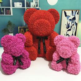 2019 roupas de plástico para meninas Flores artificiais Rosa Urso Multicolor Espuma de Plástico Rosa Urso de Pelúcia Namorada Presente do Dia dos Namorados Decoração de Festa de Aniversário SH190916