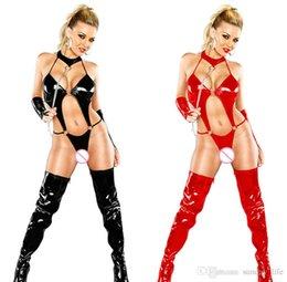 Lingerie clubwear bodysuit online-Spedizione gratuita !!! Nero Rosso Donna Clubwear Nightwear Latex Leather Lingerie Costumi PVC Sexy Biancheria Intima A Tre Punti Tute Teddies Catsuit