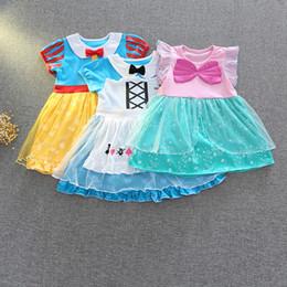Kleines mädchen cosplay kostüme online-Kleine Mädchen Cartoon Kleider 6+ Cosplay Kurzarm Fliege Puppe Kragen Gedruckt Mesh Kleid Kid Designer Kleidung Party Kostüm Kleid 1-6 T