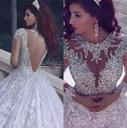 grandi perle diamanti Sconti Custom Made Empire Big treno pizzo in rilievo di cristallo di diamante di lusso abiti da sposa d'epoca musulmana 2020 Nuovo abito da sposa