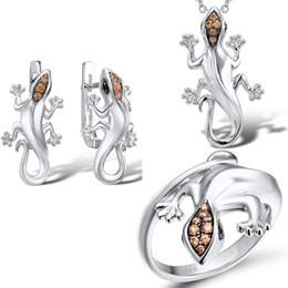 Gecko halsketten online-Einzigartiges Punk Lizard Silber Schmuck-Set für Frauen Gecko Champagne Zircon-Ring Ohrringe Anhänger-Halskette-Cocktailparty-Schmuck-Set