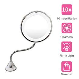 Espejo de maquillaje giratorio de 360 grados con espejo plegable 10X Mi flexible de tres pliegues de lupa de maquillaje Maquillaje con espejo de luz LED Espejo cosmético desde fabricantes