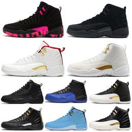 Alas de zapatos de moda online-Air Jordan Retro 12 AJ12 Nike 12 12s hombre zapatos de baloncesto Michigan WINGS Navy toros UNC Juego de la gripe el maestro negro blanco taxi hombres Deportes diseñador zapato envío gratis