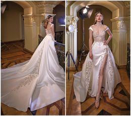 Vestido de casamento de cetim removível on-line-Mais novo Sexy Side Slit Sereia Vestidos de Noiva Ilusão Corpete Qualidade de Luxo De Cetim Vestidos De Noiva Removível Trem Vestido De Casamento frete grátis