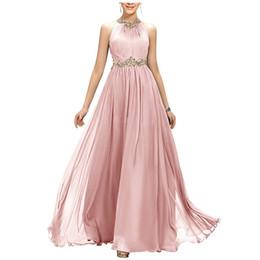 2019 barato quente sexy verão vestidos Moda Chiffon Até O Chão Vestido de Dama de honra Beading Belt Decote Vestidos de Festa Custom Made