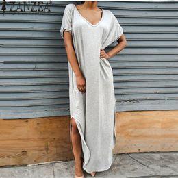 1dd6f34f8f5725 ZANZEA Vestidos 2017 Summer Women Split Maxi Dress Lady Sexy Casual V neck  Short Sleeve T-shirt Long Beach Dresses Plus Size