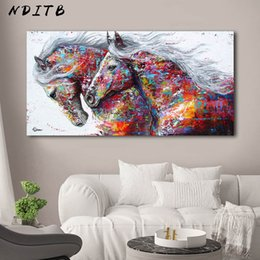 painting horses modern art Promo Codes - Colorful Horses Decorative Picture Canvas Poster Nordic Animal Wall Art Print Abstract Painting Modern Living Room Decoration
