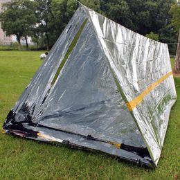 Notzelte online-Outdoor Zelte Sheelters 240 * 160 cm Wasserdicht Splitter Mylar Thermal Survival Shelter Notunterkunft für Camping Zelt MMA1724