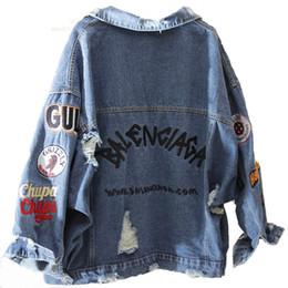 2019 bf jeans giacca monopetto in denim con ricamo bf harajuku coppia estetica donna 2019 autunno top femminile jeans cappotto buco hip hop casual bf jeans economici