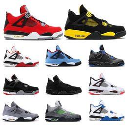 Neon jack on-line-2019 tênis de basquete 4s para homens COUSHROOM CACTUS JACK Tatuagem BRED Fogo Vermelho THUNDER NEON ALTERNATE Cool cinza mens sports sneakers tamanho 7-13