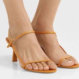 2019 chaussure de passerelle femme 2019 sandales Bare convoitées pour femmes chaussures de designer pour femmes d'été en cuir souple lanières fines sandales à talons hauts chaussures lady 65mm chaussure de passerelle femme pas cher