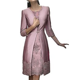 terno formal do partido Desconto Elegante Bainha Curta Mãe Formal Wear Com Jaqueta de Noite de Cetim Rendas Vestido de Festa de Casamento Convidado Mãe Do Vestido Da Noiva Terno Vestidos
